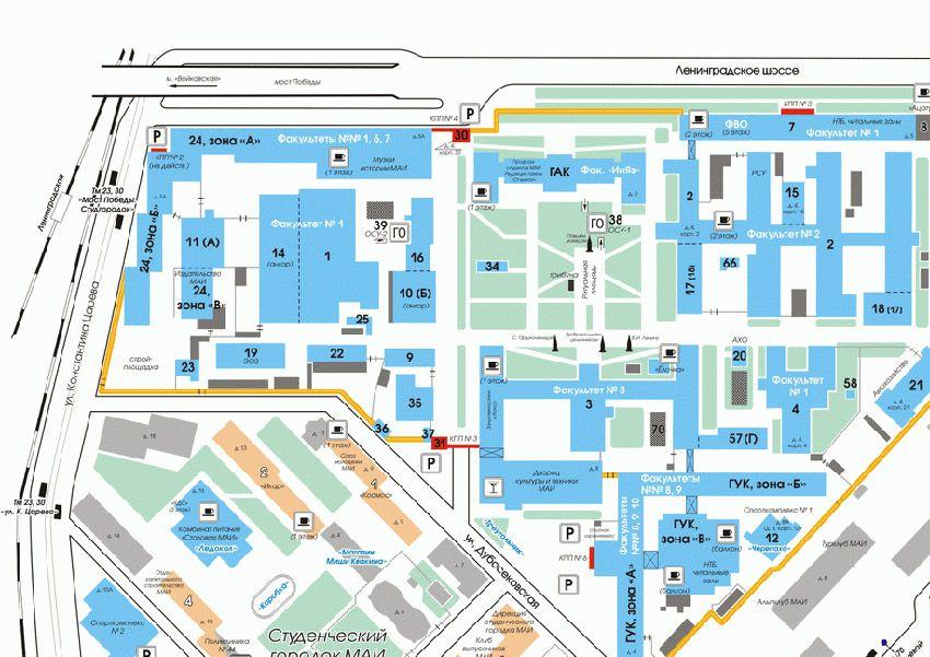 План городка МАИ